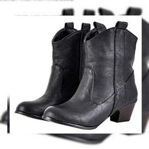 Teresamon Western High Heel Ankle Boots Black